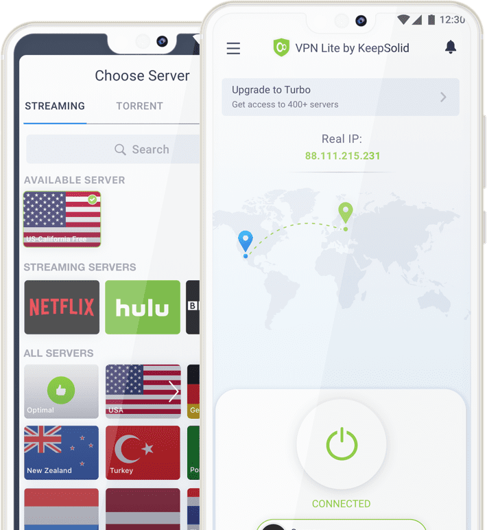 Best Huawei VPN Client - VPN Lite main screen and servers screen