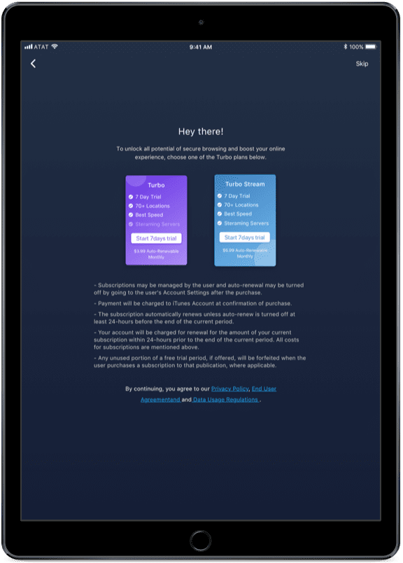 Get Started with KeepSolid VPN Lite for iPad Pro - Welcome screen